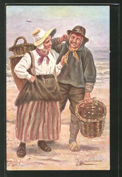 Künstler-AK Johan Georg Gerstenhauer: Fischerpaar am Strand