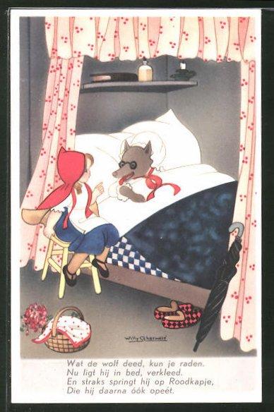 Künstler-AK Willy Schermele: Rotkäppchen am Bett des als Grossmutter verkleideten Wolfes 0
