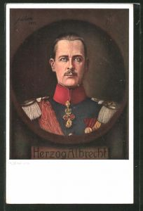 Künstler-AK Herzog Albrecht von Württemberg in Uniform