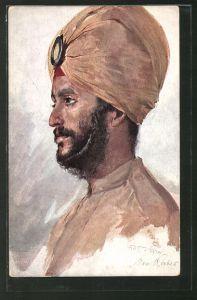 Künstler-AK Max Rabes: Pandschab, Inder aus Pandschab, Ind. Sykh-Inf.-Rgt.