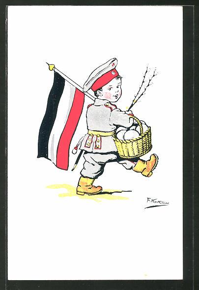 Künstler-AK Friedrich Kaskeline: Verein für Kinder-Volksküche, Kleinkind in Soldatenuniform mit Osterkorb u.Reichsflagge