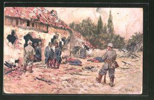 Künstler-AK Max Rabes: Deutsche Soldaten nach Erstürmung eines französischen Dorfes