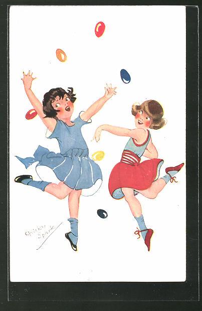 Künstler-AK Chicky Spark: Zwei junge Mädchen tanzen umher und spielen mit bunten Eiern