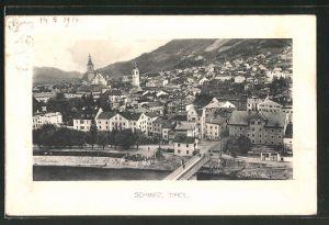 AK Schwaz, Ortspartie mit Brücke aus der Vogelschau