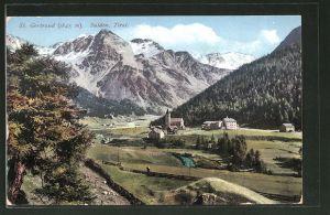 AK St. Gertraud-Sulden, Ortspanorama mit Gebirge