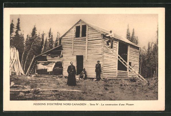 AK Missionare stehen vor einem Haus