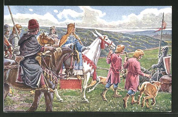 AK Kassel, Tausendjahrfeier, Kaiserin Kunigunde im Jahre 1017 auf der Reise ins Kloster Kaufungen