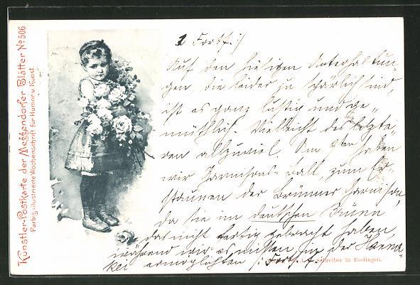 Künstler-AK Meggendorfer Blätter Nr.: 506, Mädchen hält Blumen im Arm