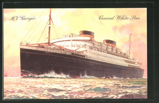 AK Passagierschiff M.V. Georgic auf hoher See