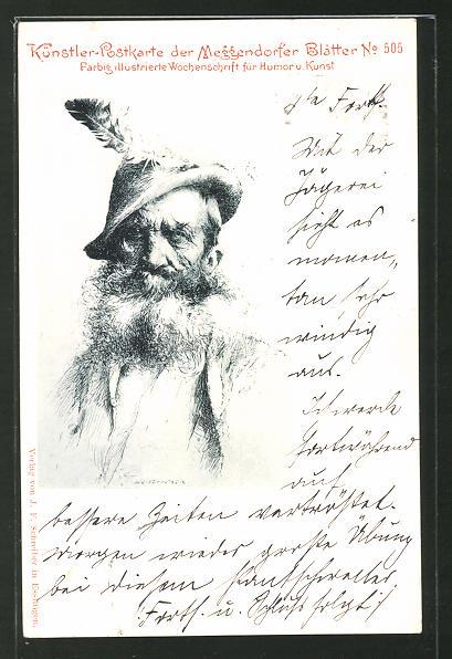 Künstler-AK Meggendorfer Blätter Nr. 505: Alter Mann mit Vollbart und Feder am Hut