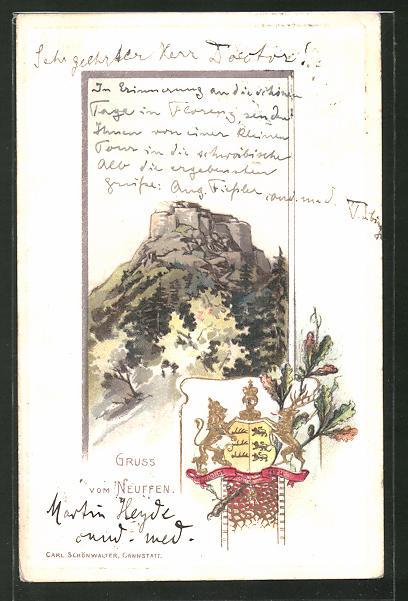Passepartout-Lithographie Neuffen, Blick zur Festungs-Ruine Hohen-Neuffen, Wappen und Eichenlaub