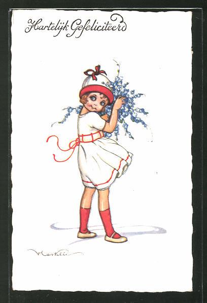 Künstler-AK Castelli: Mädchen mit Hut und Blumenstrauss