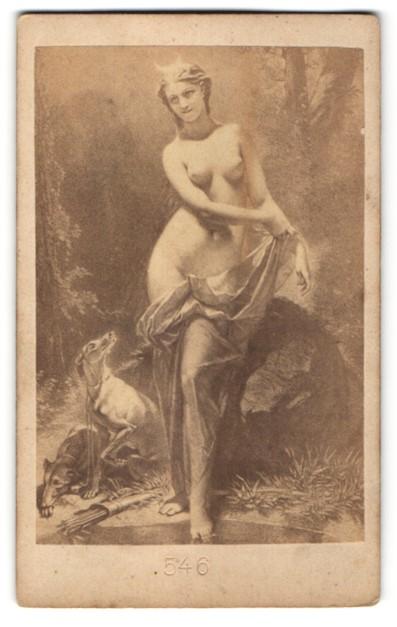 Fotografie Gemälde, Diana römische Göttin der Jagd in Akt mit Hunden & Pfeilköcher