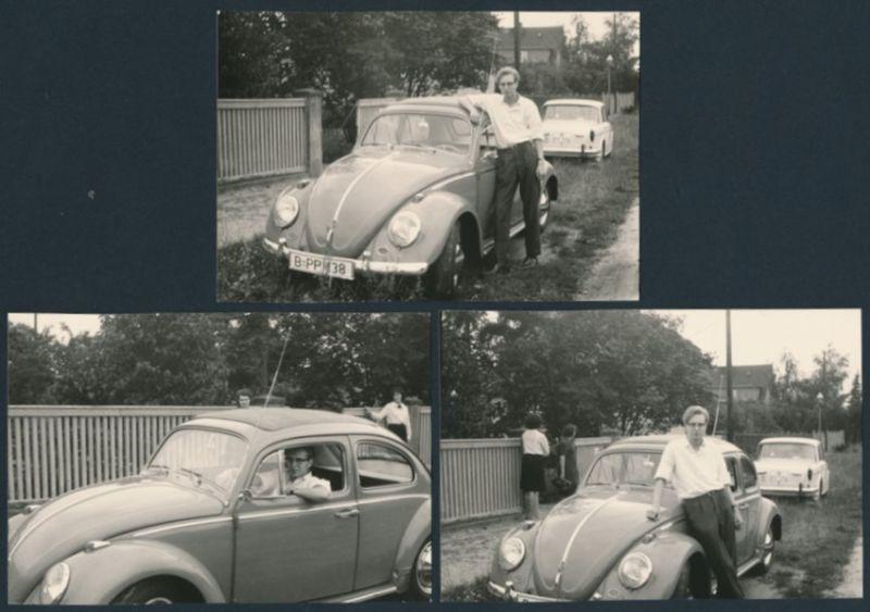 3 Fotografien Auto VW Käfer, Fahrer lehnt lässig am Volkswagen PKW