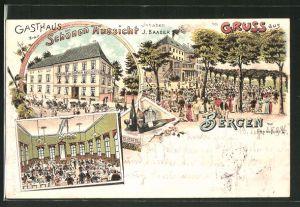Lithographie Frankfurt-Bergen, Gasthaus zur Schönen Aussicht von J. Baader