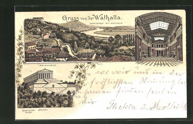Lithographie Walhalla, Donaustauf mit Walhalla, Innenansicht