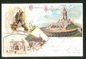 Lithographie Kyffhäuser, Kyffhäuser-Denkmal, Reiterstandbild, Barbarossa