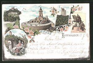 Lithographie Kyffhäuser, Kaiser Wilhelm-Denkmal, Kyffhäuser, Rothenburg, Reiterstandbild, Barbarossa