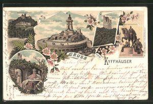 Lithographie Kyffhäuser, Kaiser Wilhelm-Denkmal, Kyffhäuser, Reiterstandbild, Rothenburg, Barbarossa