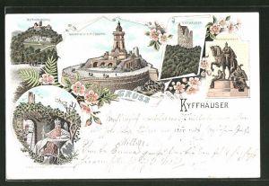 Lithographie Kyffhäuser, Kaiser Wilhem-Denkmal, Kyffhäuser, Reiterstandbild, Rothenburg, Barbarossa