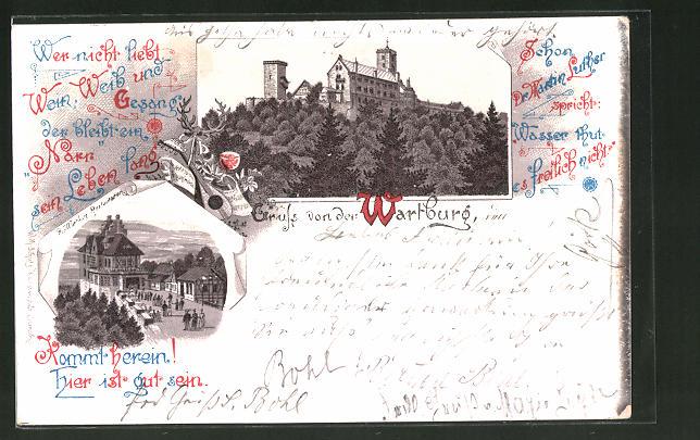 Lithographie Eisenach, Wartburg-Restaurant, Blick auf die Wartburg