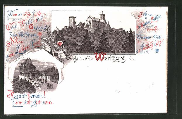 Lithographie Eisenach, Wartburg-Restaurant, Blick zur Wartburg