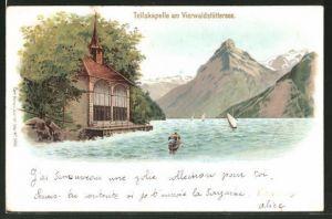Lithographie Seelisberg, Tellskapelle am Vierwaldstättersee