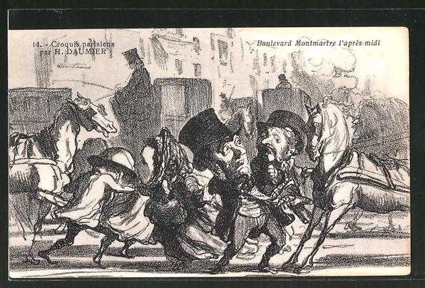 Künstler-AK sign. H. Daumier: Boulevard Montmartre l'apres-midi