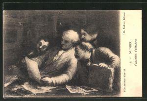 Künstler-AK sign. Daumier: L'Amateur d'Estampes