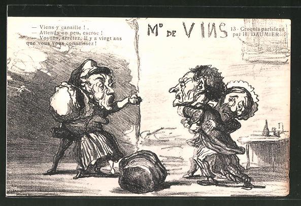 Künstler-AK sign. H. Daumier: Streitende Männer auf einer Strasse