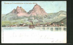 Lithographie Künzli Nr. 5022, Brunnen am Virwaldstättersee mit den beiden Mythen, Berggesichter