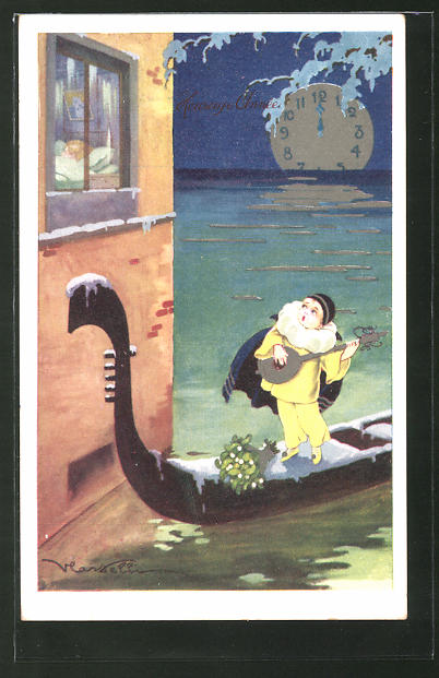Künstler-AK Castelli: Kleiner Pierrot auf Gondel, Monduhr