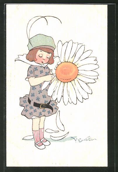 Künstler-AK Castelli: Mädchen mit Margeritenblütte,