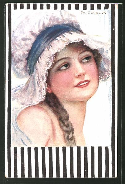 Künstler-AK de Godella: Schöne Frau mit Zopf und Haube