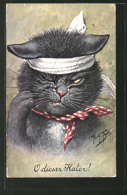 Künstler-AK Arthur Thiele: Vermenschlichte Tiere,