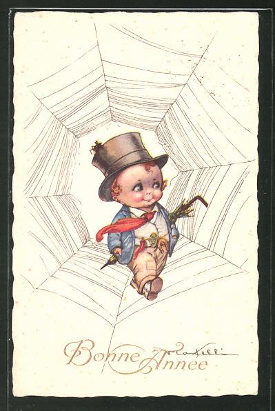 Künstler-AK Castelli: Kleiner Kavalier im Spinnennetz,