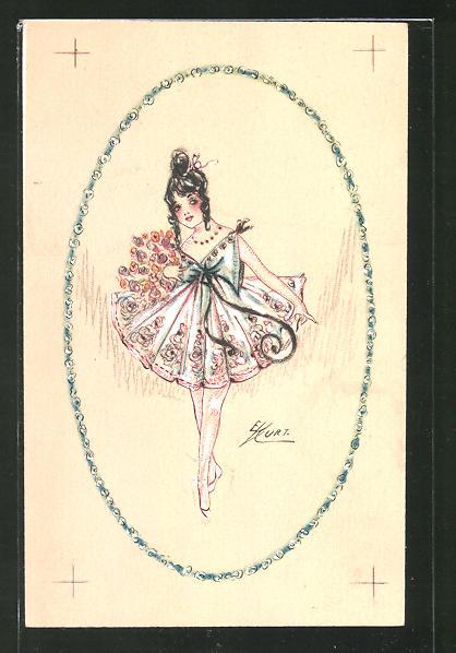 Künstler-AK Erna Maison-Kurt: Ballerina mit Blumenstrauss