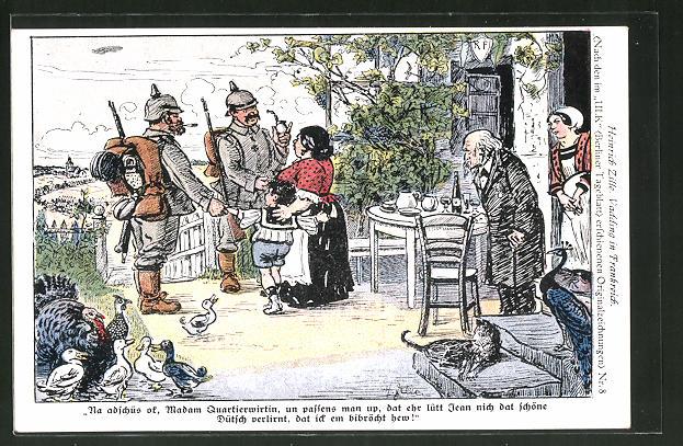 Künstler-AK Heinrich Zille: Vadding in Frankreich, Na adschüss, Madam Quartierwirtin..., Soldatenhumor