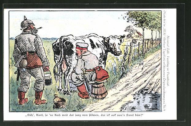 Künstler-AK Heinrich Zille: Vadding in Frankreich, Süh', Korl, so 'ne Kuh weit dat janz vun sülwen..., Soldatenhumor