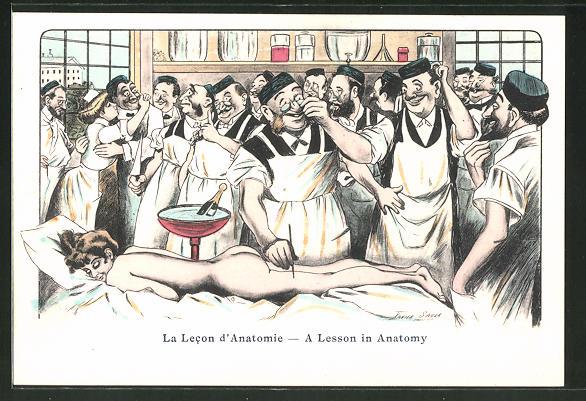 Künstler-AK Xavier Sager: La Lecon d\'Anatomie, vergnügte Ärzte ...
