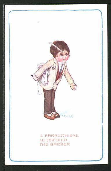 Künstler-AK A. Bertiglia: Il Parrucchiere, kleiner Frisör