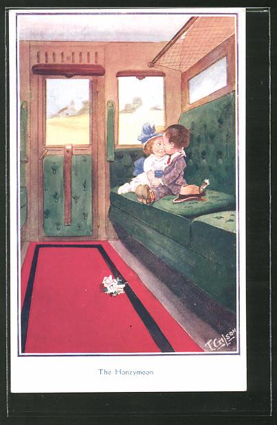 Künstler-AK T. Gilson: The Honeymoon, kleines Liebespaar