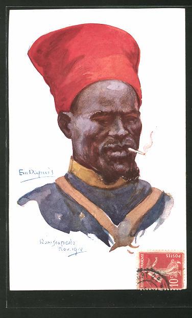 Künstler-AK Em. Dupuis: Nos Poilus, Raniscapcolo, Nov. 1914, Franko-afrikanischer Soldat