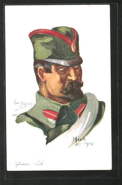 Künstler-AK Em. Dupuis: Nos Alliés, Nisch, Oct. 1914, Infanterie-Serbe