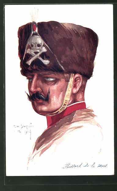 Künstler-AK Em. Dupuis: Hussard de la Mort, deutscher Totenkopfhusar