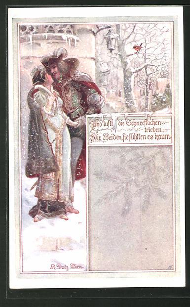 Künstler-AK Rud. Dutz: Und lustig die Schneeflocken trieben..., mittelalterliches Liebespaar