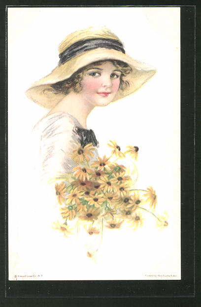 Künstler-AK Alice Luella Fidler: Fräulein mit Hut und Blumen