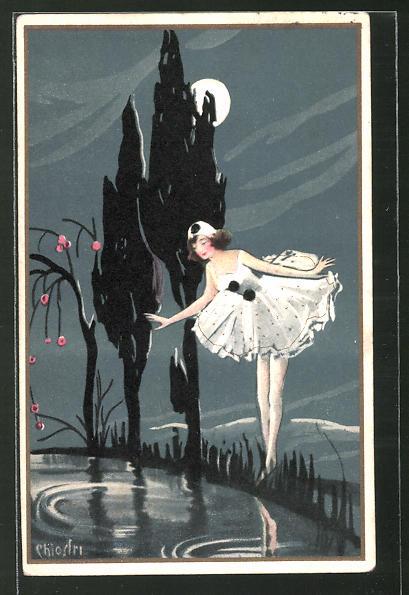 Künstler-AK Carlo Chiostri: Weiblicher Harlekin bei Mondschein an einem Teich
