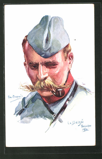 Künstler-AK Em. Dupuis: Soldat in Uniform mit Pfeife