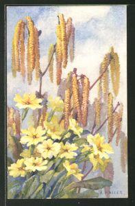 Künstler-AK Anna Haller: Weidenzweige und gelbe Blumen